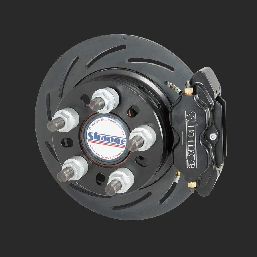 Strange Pro Series II Rear Brake Kit | For Mopar Housing Ends - Includes  Axle Bearings | With 2 Pc Slotted Rotors, Four Piston Calipers & Soft